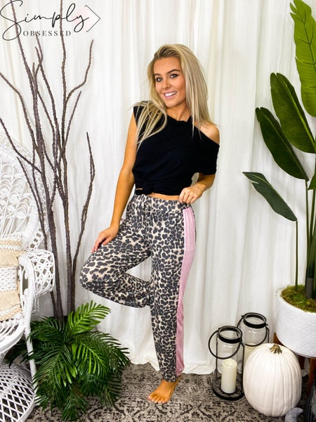 BiBi - Leopard print thermal casual joggers with colorblock side panel