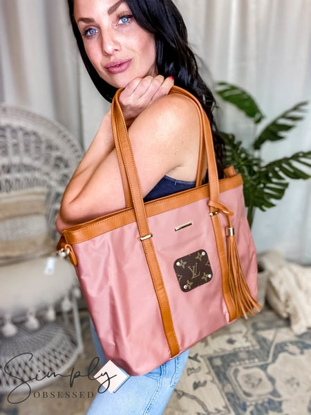 UpCycled - Blush Tote w/Brown Tassel Detail