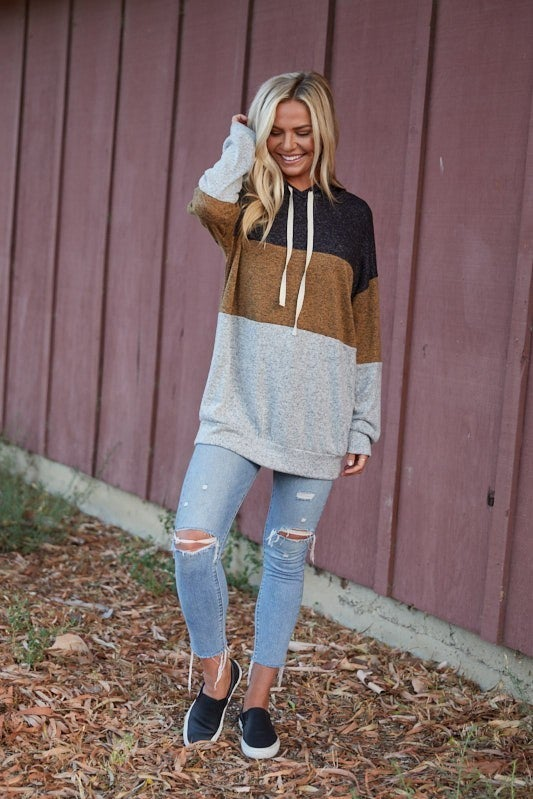 Grateful Hearts - Long sleeve color block hooded sweater (plus size)