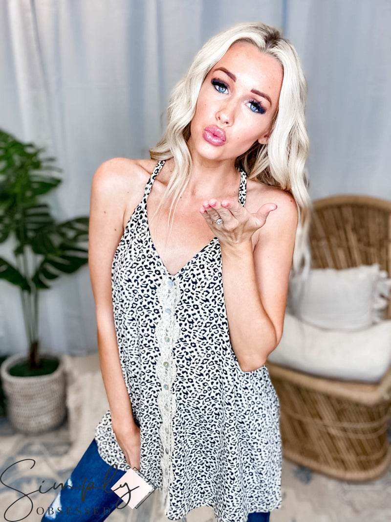 Pol - Leopard Print Cami Knit Top Button and Lace Detail