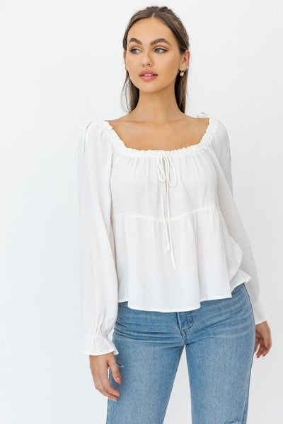 Le Lis - Long Sleeve Drawstring Detail Flared Top