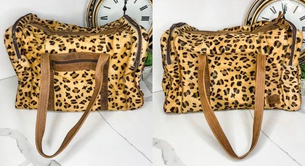 American Darling - Cheetah print cross body duffle bag