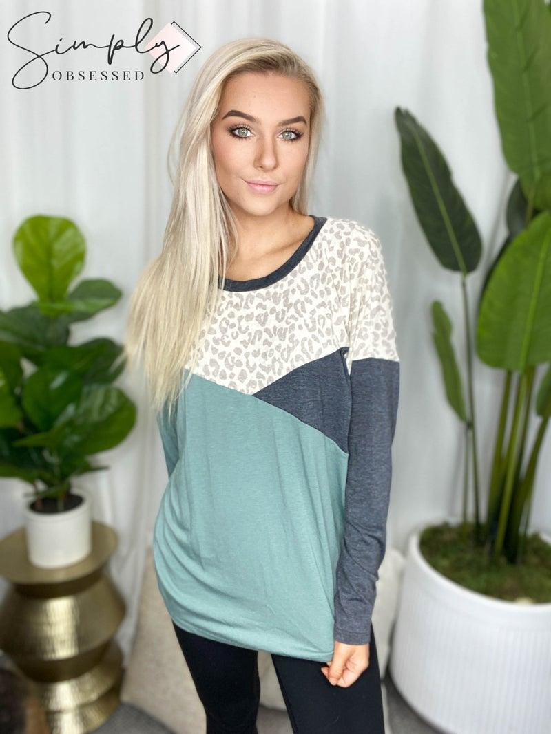 Vanilla Bay - Long sleeve color block leopard print knit top