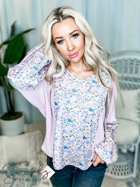 Fantastic Fawn - Long Sleeve Floral Print Solid Contrast V Neck Top