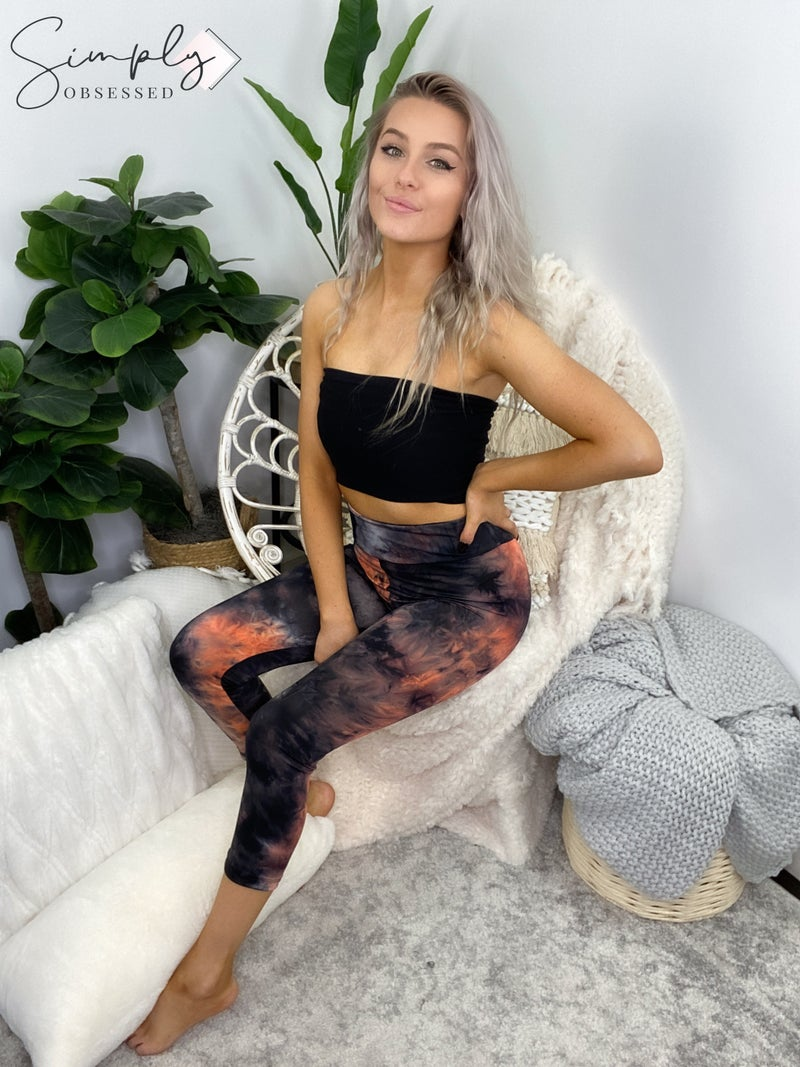 White Birch - Tie dye capri leggings
