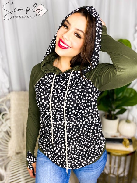 Vanilla Bay - Long sleeve leopard print double hooded top with contrast sleeves and zipper detail