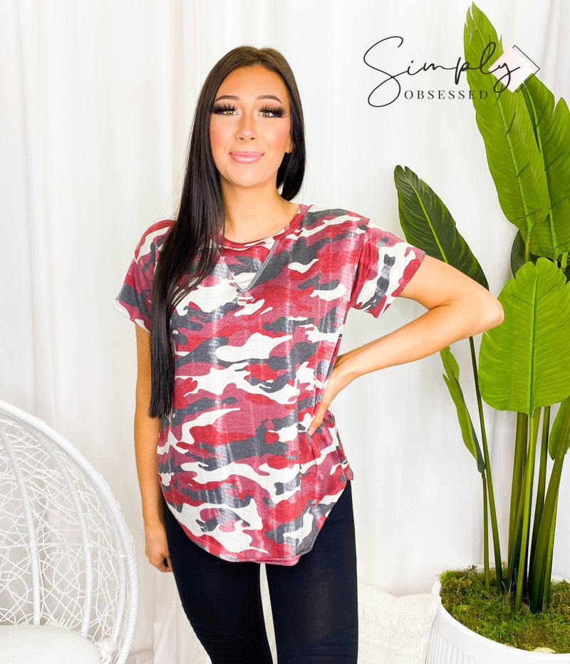 Flamingo - Short sleeve round neck camo print top(plus)
