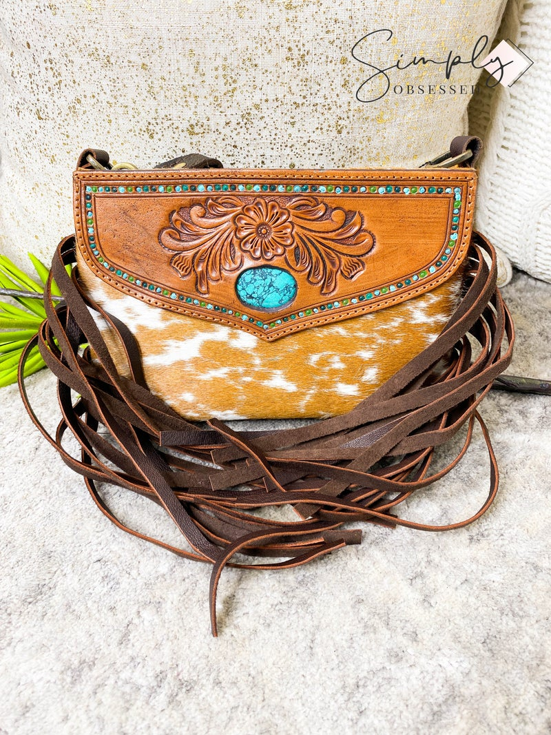 American Darling - Leather Work Handbag with Fringe and Stone Detail