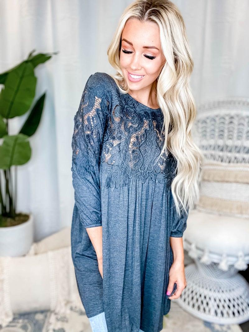 CY Fashion - Crochet Lace Detail Dress
