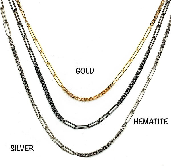 """OMG - 36"""" Paper Clip Curb Chain Necklace"""