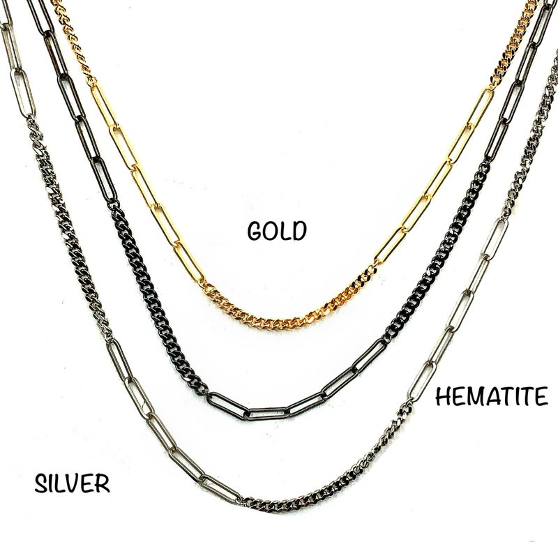 "OMG - 36"" Paper Clip Curb Chain Necklace"