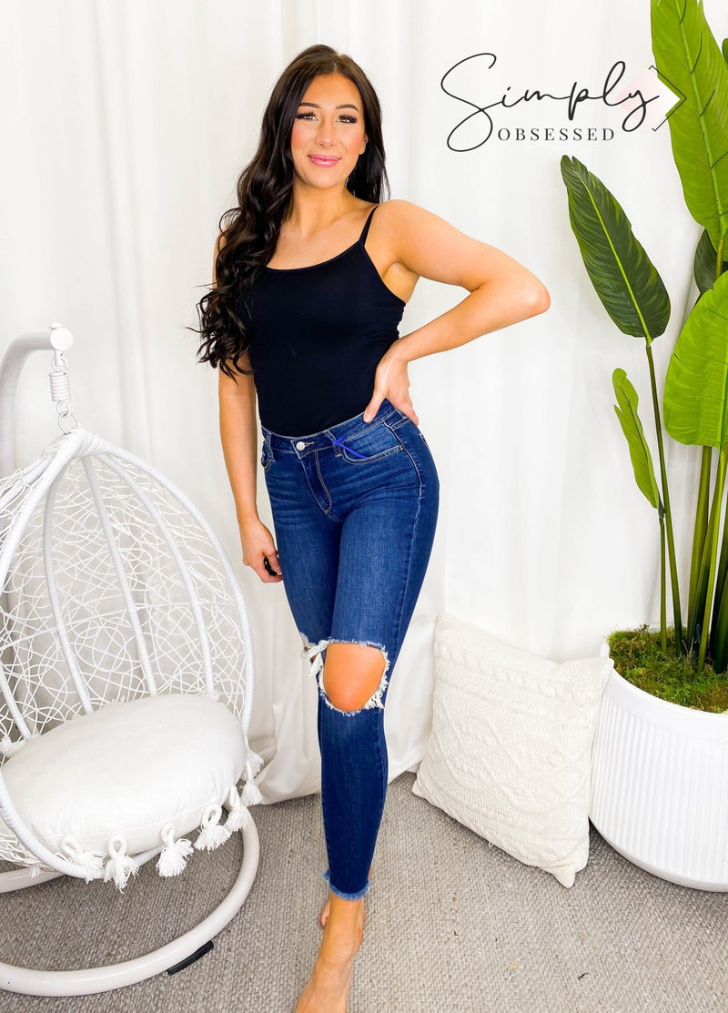 Cello Jeans- Mid rise knee hole crop skinny jeans