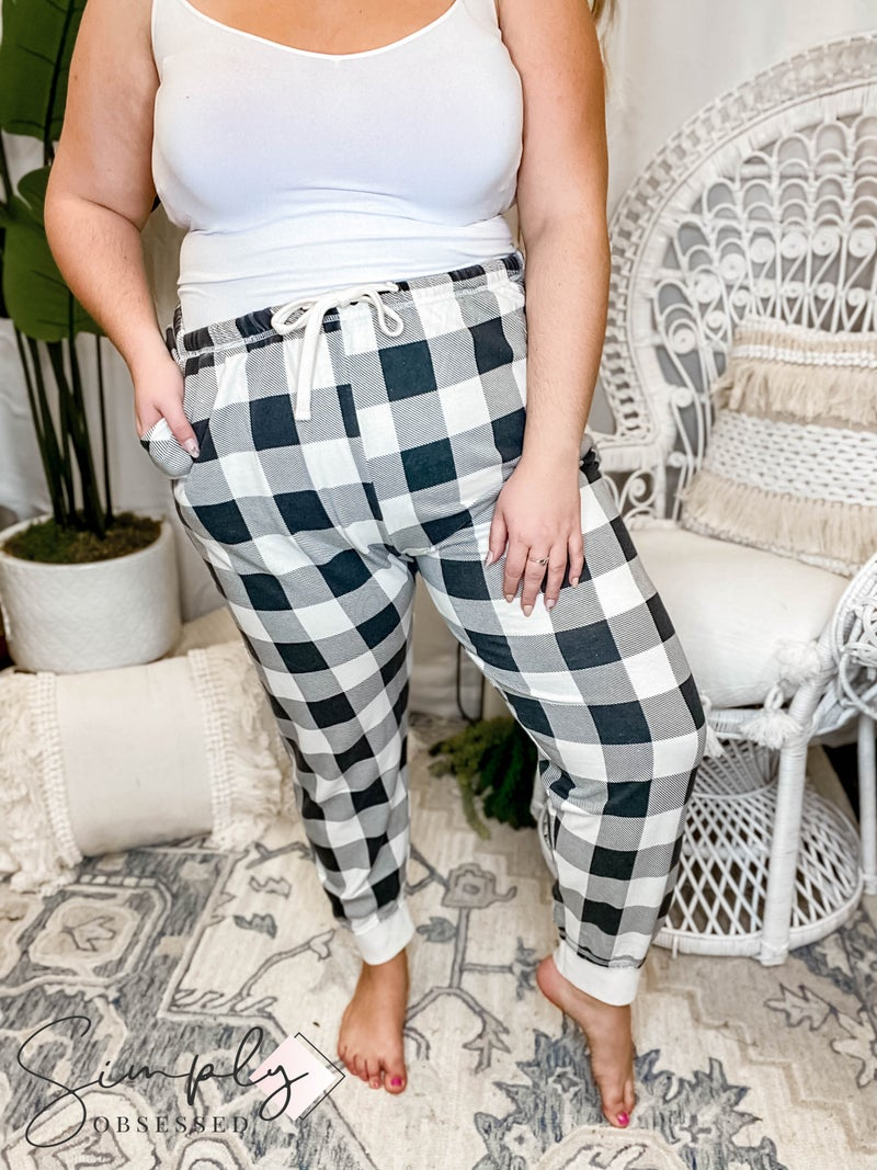 Sew In Love - Plaid print drawstring detail joggers(All Sizes)