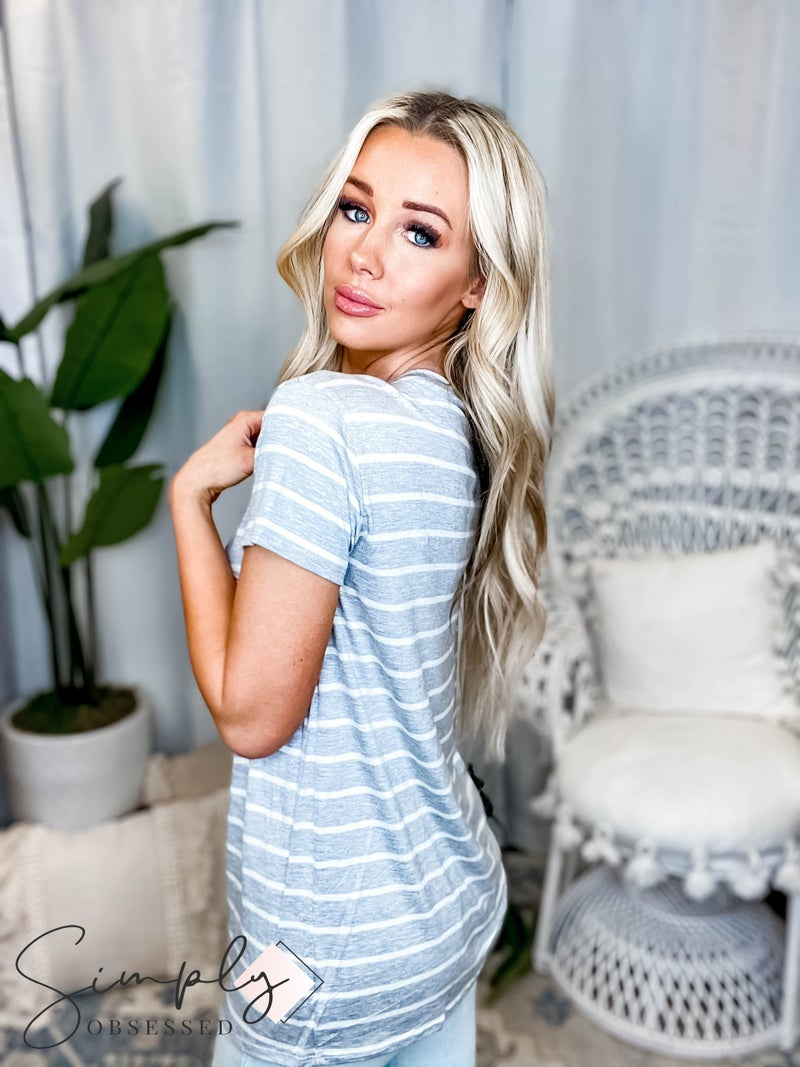 Vanilla Bay - Short sleeve round neck stripe knit top with sequins lip patch on front (plus)