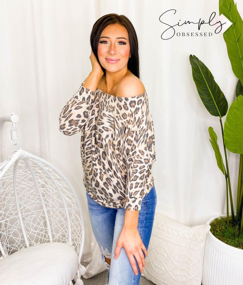 White Birch - Short sleeve loose fit cheetah print top