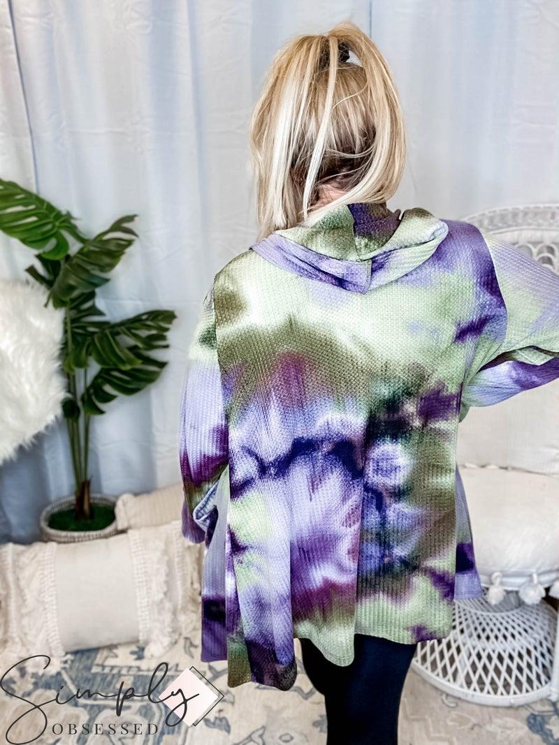 Rae Mode - Tie Dye Printed Waffle Hoodie Cardigan W/ Pocket