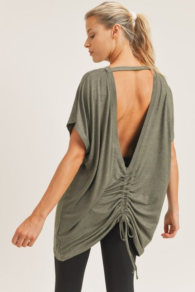POL - Cut Out Longline Top w/ Gathered Accent
