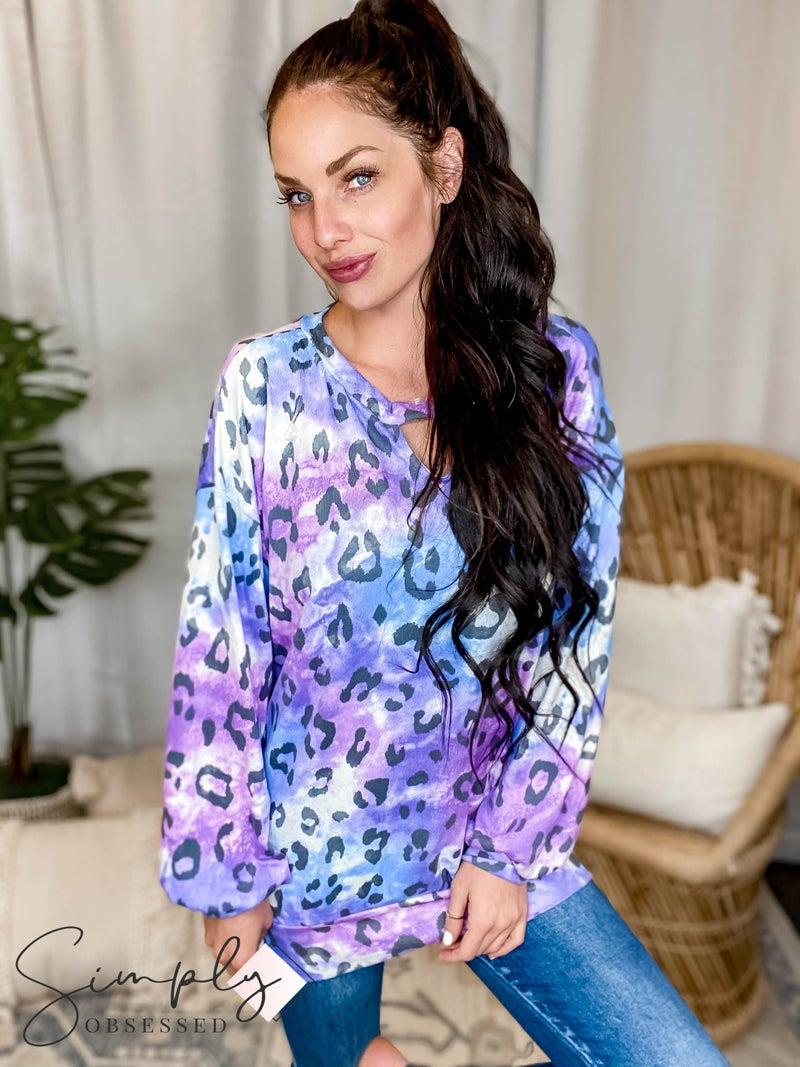 White Birch - Leopard Print Tie Dye Sweater