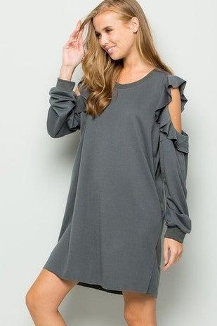eesome-Open Shoulder Sweatshirt Dress