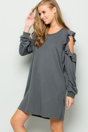 eesome-Open Shoulder Sweatshirt Dress