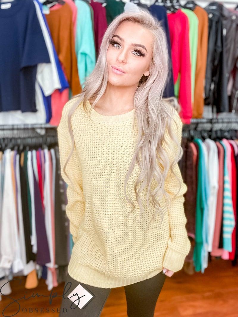 Zenana LA First Dibs - Round Neck Waffle Light Sweater