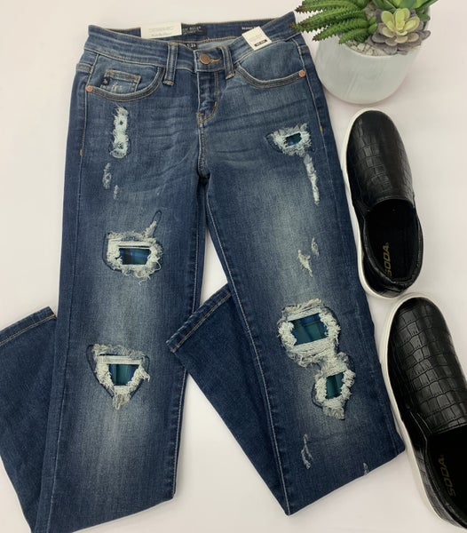 Judy Blue- Green plaid patch skinny jeans