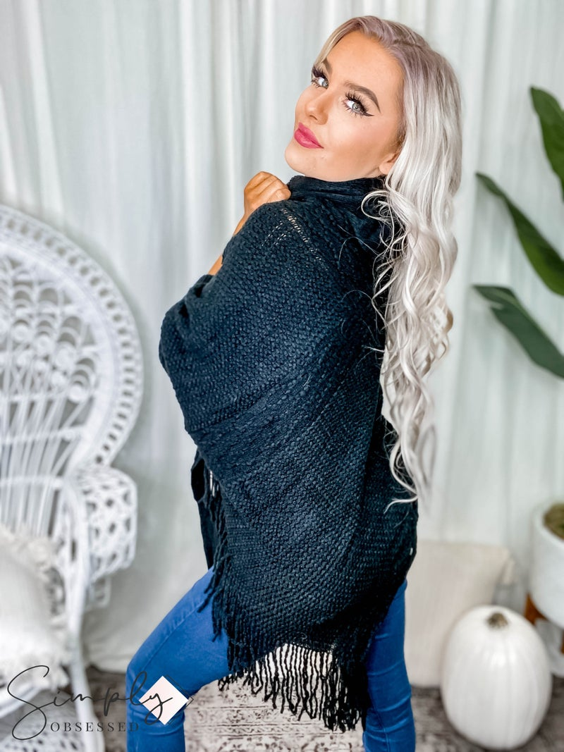 Camille & Co. - Cowl neck knit poncho sweater