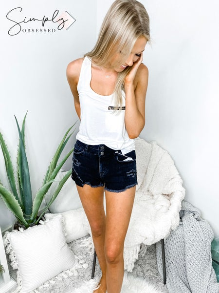 NATURE-DISTRESSED HIGH RISE DUAL BUTTON SHORTS