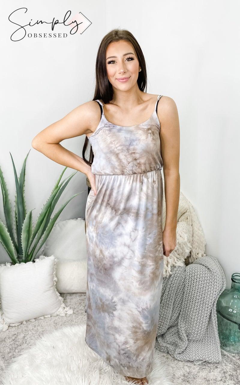 White Birch - Sleeveless tie dye scoop neck maxi dress