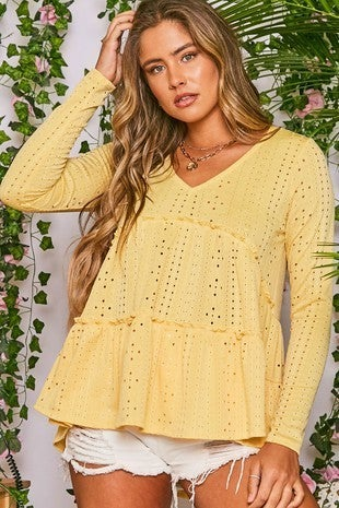 Peach Love California - Solid Punching Long Sleeve Knit Top
