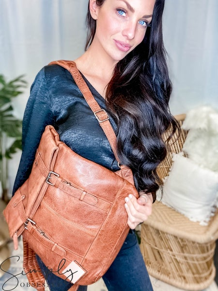 Latico Leathers - Natural leather button and zipper closure back pack