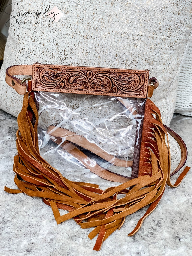 American Darling - Leather Work Handcrafted Transparent Bag with Fringe