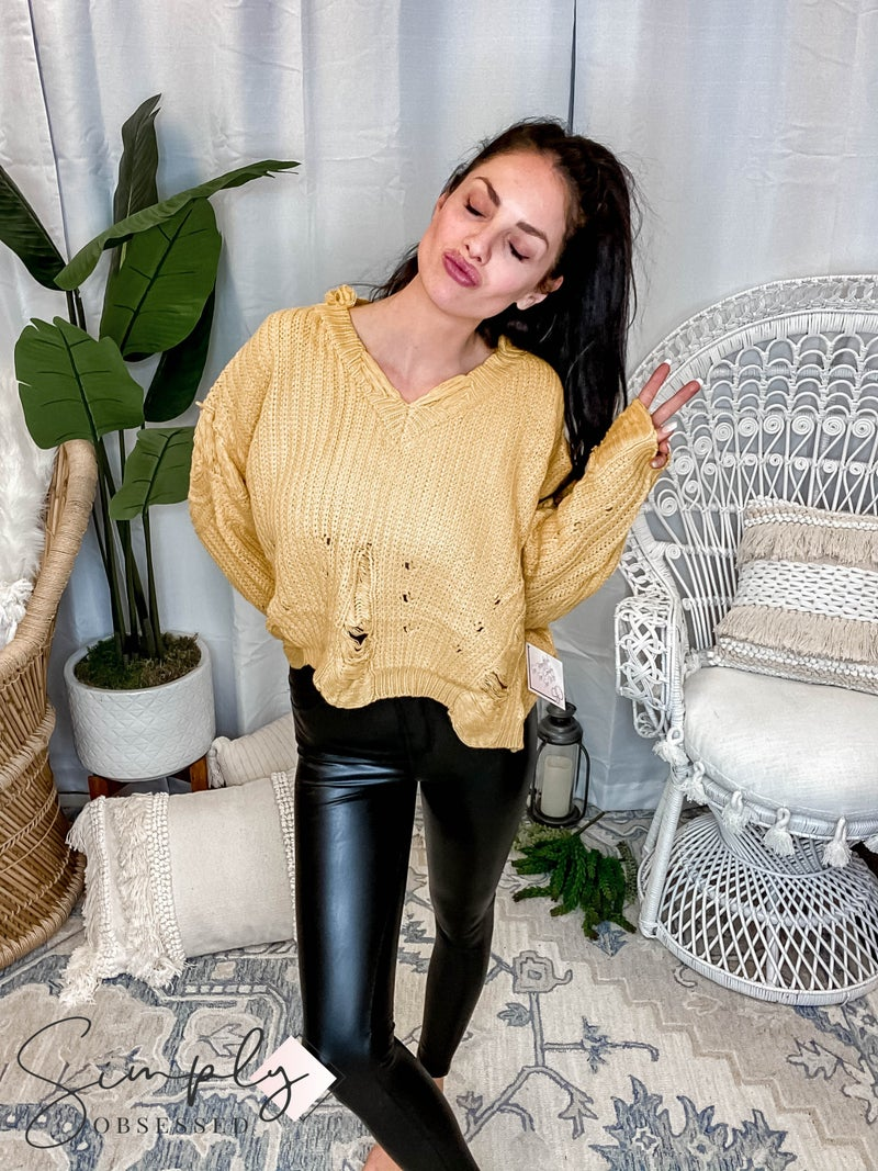 V Neck Distressed Loose Sweater Top