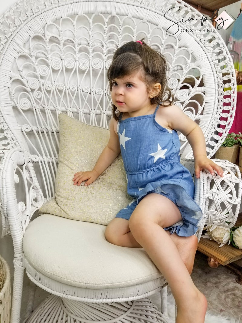 Honeydew-denim ruffle star romper