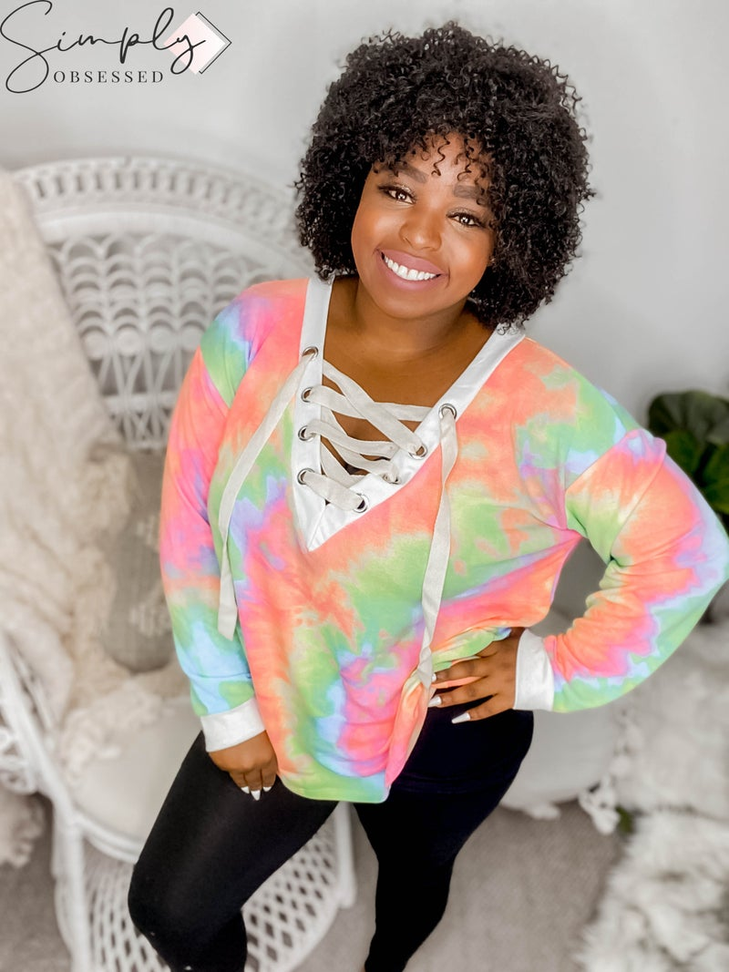 BiBi - Long sleeve tie dye deep v-neck top with lace up front