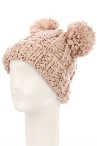 Fame Accessories - Crochet double pom pom beanie