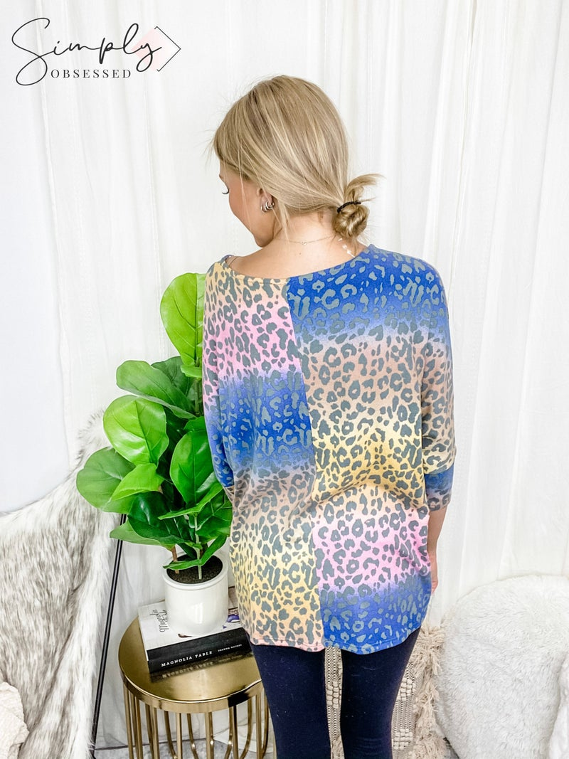 HONEY ME-MULTI COLORED LONG SLEEVE ROUND NECK SHIRT WITH LEOPARD PRINT