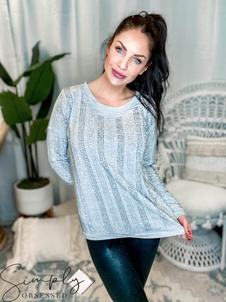 Vocal - Round neck long sleeve stud detail top