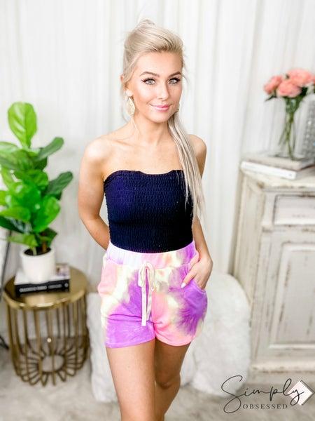 Bibi - Tie dye print shorts with drawstring detail