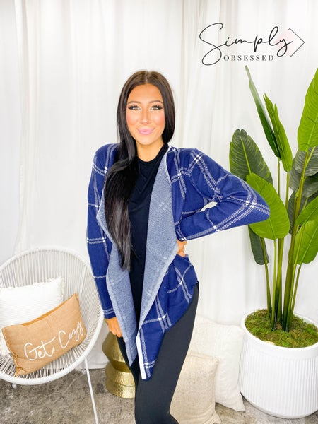 Rousseau - Plaid open collar cardigan sweater