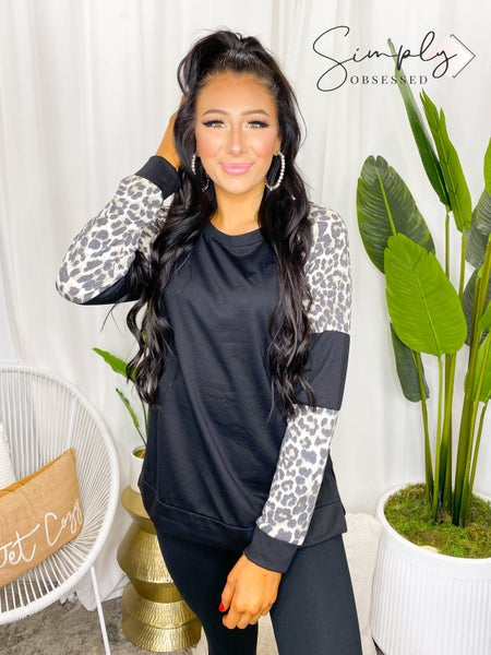 SEWS IN LOVE-ROUND NECK LONG SLEEVE SHIRT WITH ANIMAL PRINT