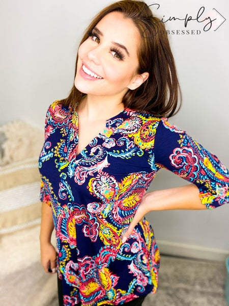 Sew In Love - Long sleeve floral knit blouse