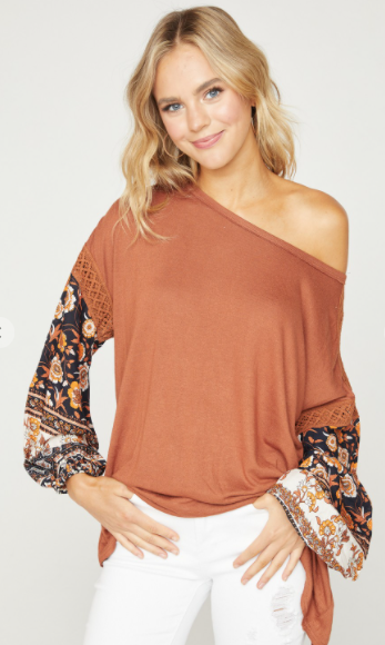 First Dibs Hailey & Co - Round neck knit body with printed woven bubble sleeve & crochet trim details