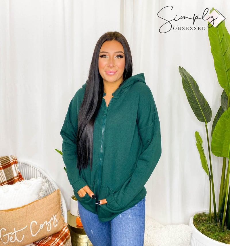 Two way metal zipper hoodie detail sweater jacket