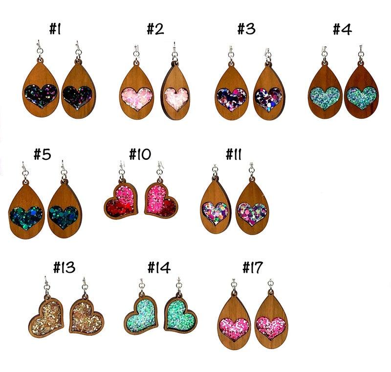 Wooden Glitter Heart Earrings