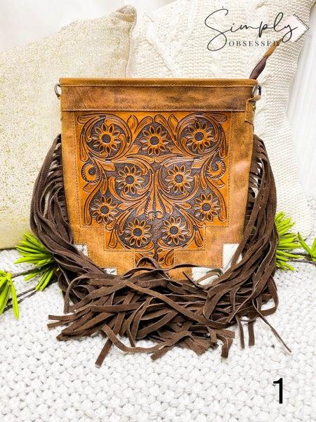 American Darling - Hand crafted leather work tassel detail crossbody bag
