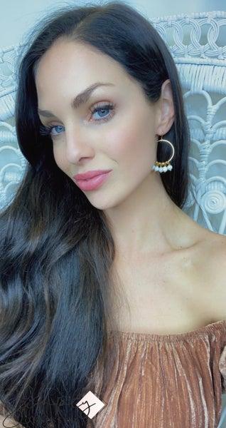 CECELIA - Gold Hoop Stone Dangle Earrings