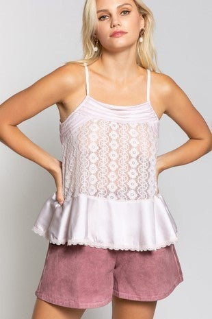 POL - Spaghetti strap cami top with peplum hem and lace bodice