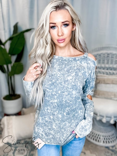 Oddi - Washed Knit Tee w/ Cold Shoulder Cut Out Long Sleeves