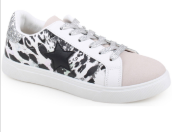 Star multi print lace up sneakers